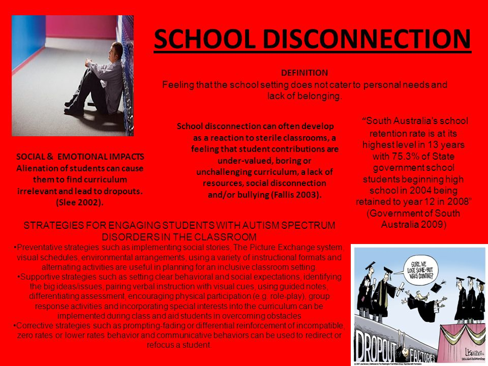 SCHOOL DISCONNECTION School disconnection can often develop as a reaction to sterile classrooms, a feeling that student contributions are under-valued, boring or unchallenging curriculum, a lack of resources, social disconnection and/or bullying (Fallis 2003).