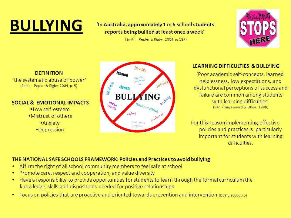 BULLYING LEARNING DIFFICULTIES & BULLYING 'Poor academic self-concepts, learned helplessness, low expectations, and dysfunctional perceptions of success and failure are common among students with learning difficulties' (Van Kraayenoord & Elkins, 1998) For this reason implementing effective policies and practices is particularly important for students with learning difficulties.