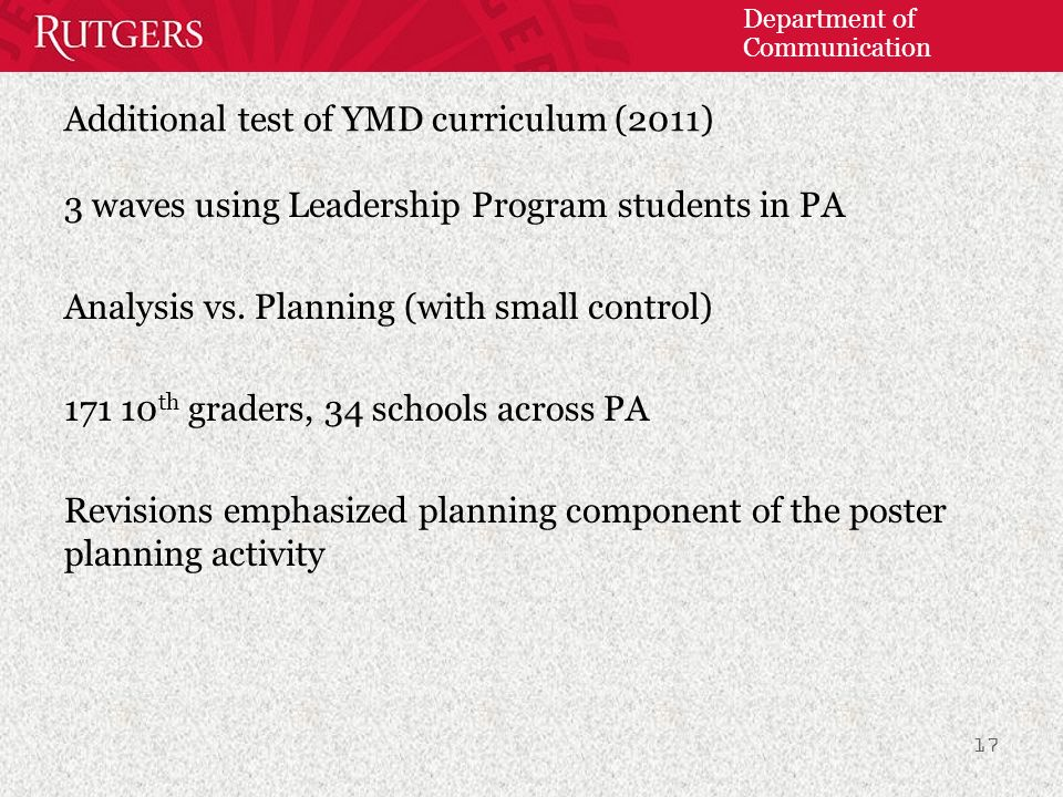 Department of Communication Additional test of YMD curriculum (2011) 3 waves using Leadership Program students in PA Analysis vs.