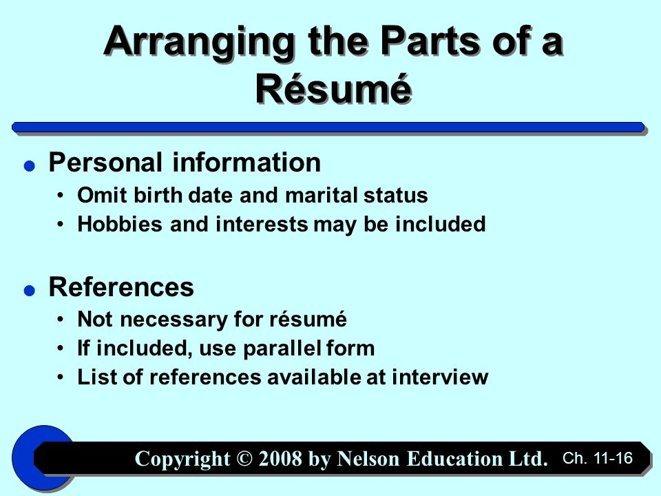 Copyright © 2008 by Nelson Education Ltd. Ch Chapter 11 The Job ...