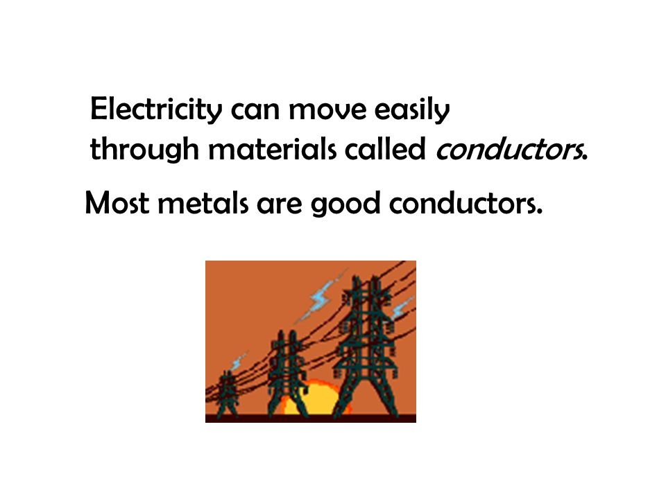 Electricity can move easily through materials called conductors.