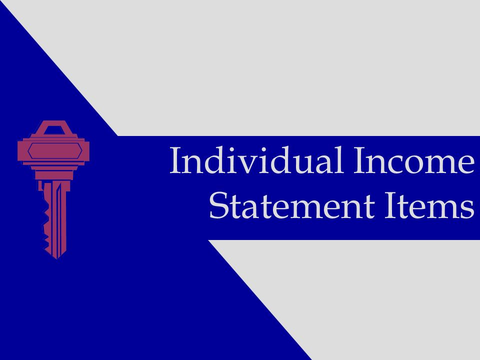 Individual Income Statement Items
