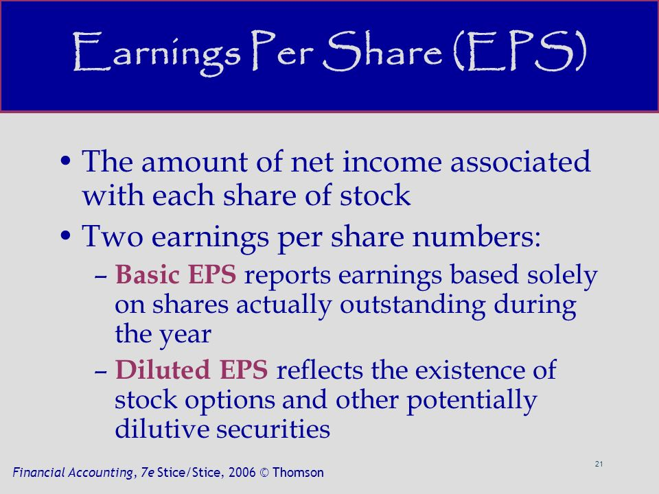 21 Financial Accounting, 7e Stice/Stice, 2006 © Thomson Earnings Per Share (EPS) The amount of net income associated with each share of stock Two earnings per share numbers: – Basic EPS reports earnings based solely on shares actually outstanding during the year – Diluted EPS reflects the existence of stock options and other potentially dilutive securities