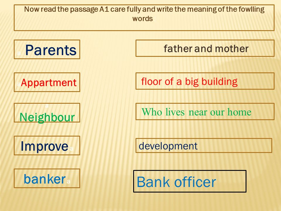 a Parents a Appartment a Neighbour Improve a banker a Now read the passage A1 care fully and write the meaning of the fowlling words : father and mother floor of a big building Who lives near our home development Bank officer