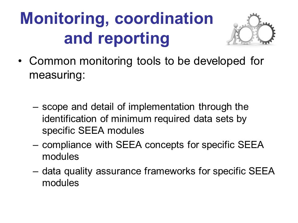 Monitoring, coordination and reporting Common monitoring tools to be developed for measuring: –scope and detail of implementation through the identification of minimum required data sets by specific SEEA modules –compliance with SEEA concepts for specific SEEA modules –data quality assurance frameworks for specific SEEA modules