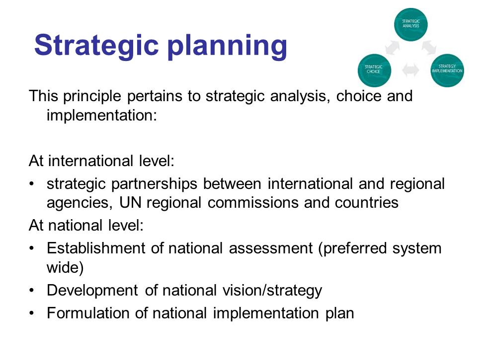 Strategic planning This principle pertains to strategic analysis, choice and implementation: At international level: strategic partnerships between international and regional agencies, UN regional commissions and countries At national level: Establishment of national assessment (preferred system wide) Development of national vision/strategy Formulation of national implementation plan