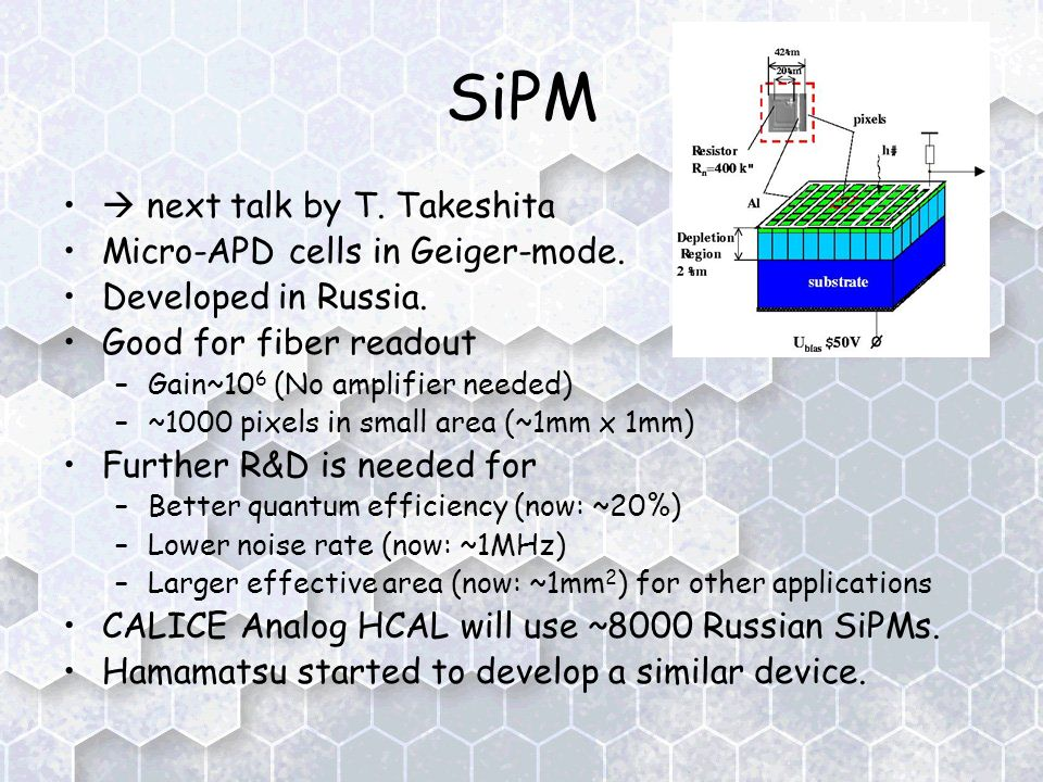 SiPM  next talk by T. Takeshita Micro-APD cells in Geiger-mode.