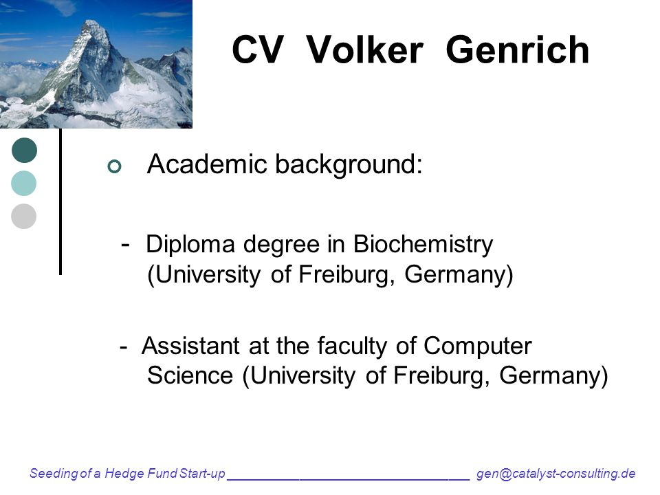 Cv Volker Genrich Academic Background Diploma Degree In