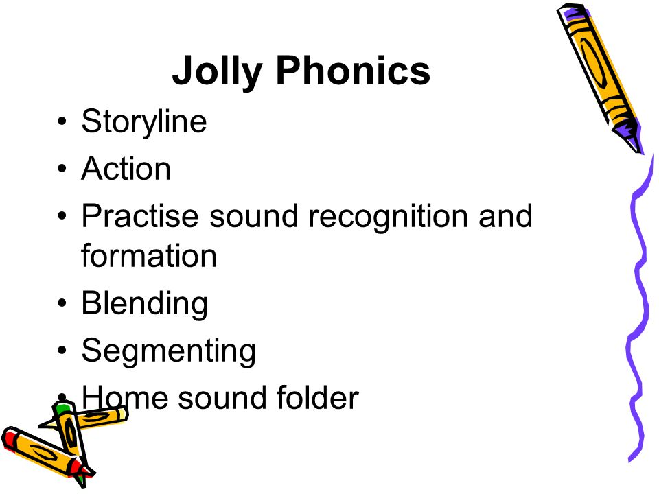 Jolly Phonics Storyline Action Practise sound recognition and formation Blending Segmenting Home sound folder