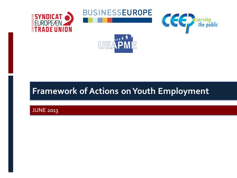 Framework of Actions on Youth Employment JUNE 2013
