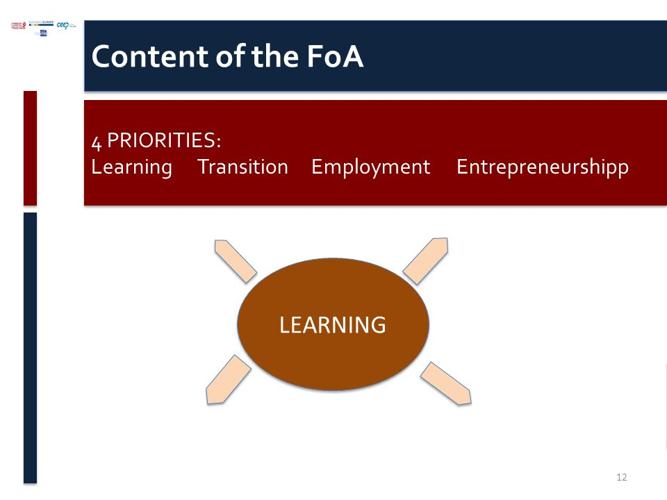 Content of the FoA 4 PRIORITIES: Learning Transition Employment Entrepreneurshipp 4 PRIORITIES: Learning Transition Employment Entrepreneurshipp LEARNING 12