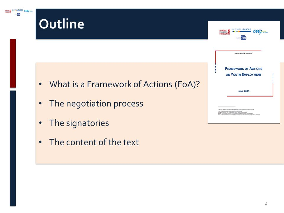 Outline What is a Framework of Actions (FoA).