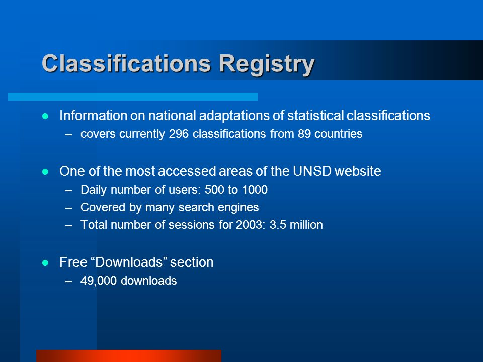 Classifications Registry Information on national adaptations of statistical classifications –covers currently 296 classifications from 89 countries One of the most accessed areas of the UNSD website –Daily number of users: 500 to 1000 –Covered by many search engines –Total number of sessions for 2003: 3.5 million Free Downloads section –49,000 downloads