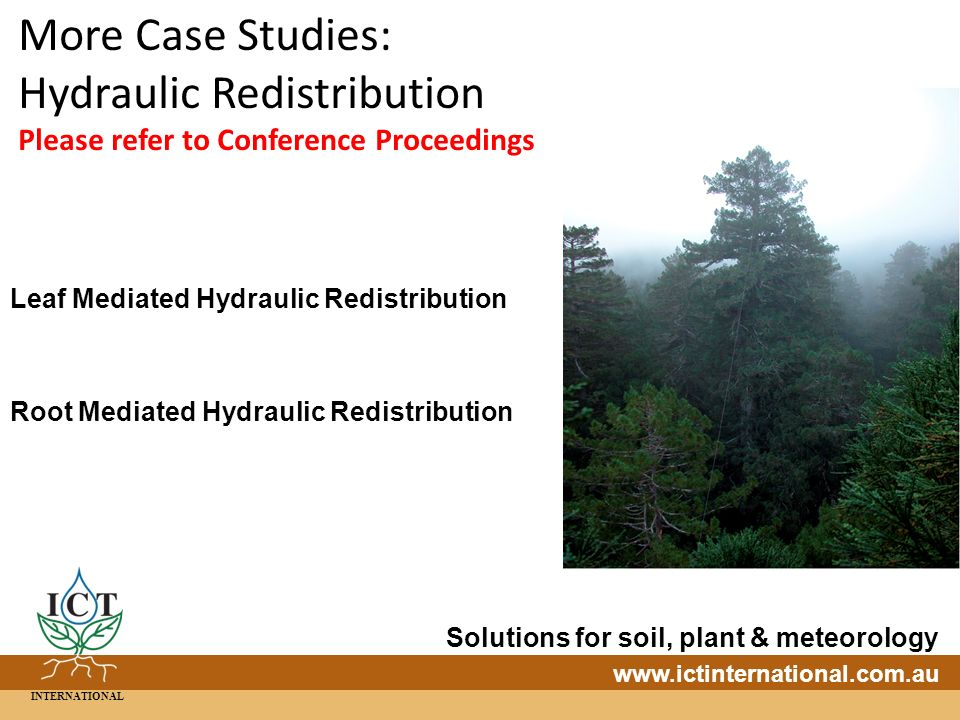 INTERNATIONAL Solutions for soil, plant & meteorology   More Case Studies: Hydraulic Redistribution Please refer to Conference Proceedings Leaf Mediated Hydraulic Redistribution Root Mediated Hydraulic Redistribution