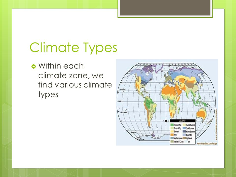 Climate Types  Within each climate zone, we find various climate types