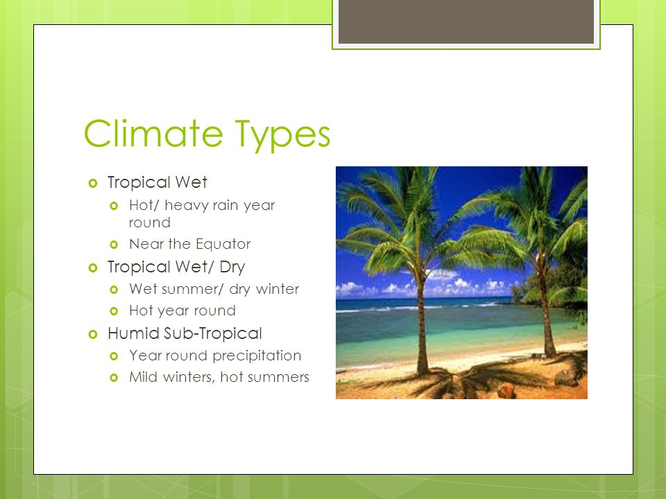 Climate Types  Tropical Wet  Hot/ heavy rain year round  Near the Equator  Tropical Wet/ Dry  Wet summer/ dry winter  Hot year round  Humid Sub-Tropical  Year round precipitation  Mild winters, hot summers