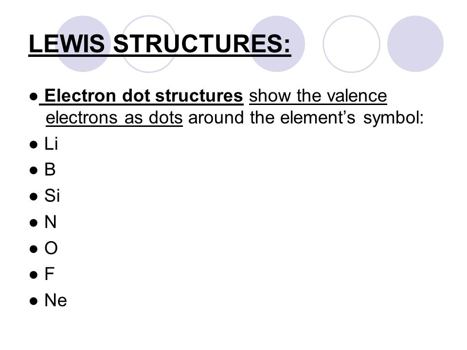 LEWIS STRUCTURES: ● Electron dot structures show the valence electrons as dots around the element's symbol: ● Li ● B ● Si ● N ● O ● F ● Ne