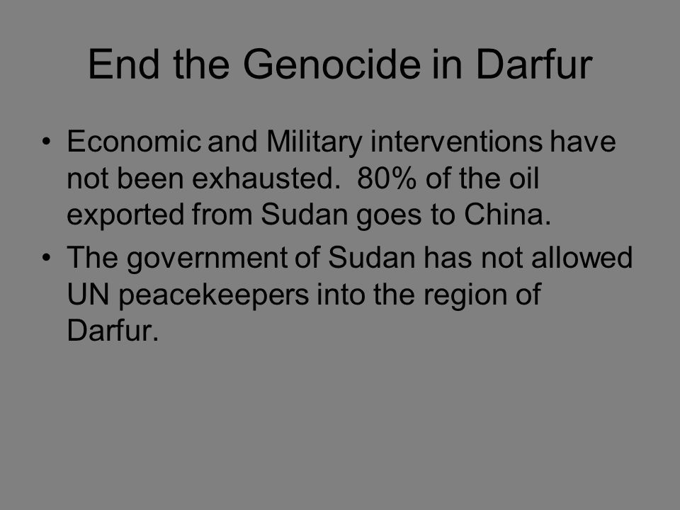 End the Genocide in Darfur Economic and Military interventions have not been exhausted.
