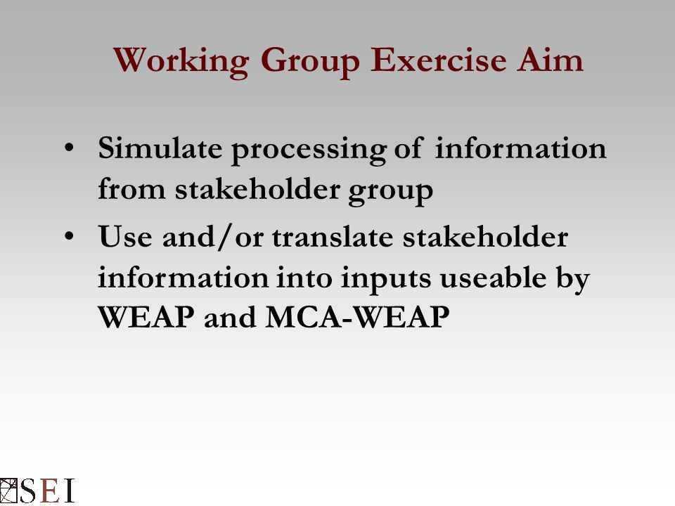 Working Group Exercise Aim Simulate processing of information from stakeholder group Use and/or translate stakeholder information into inputs useable by WEAP and MCA-WEAP