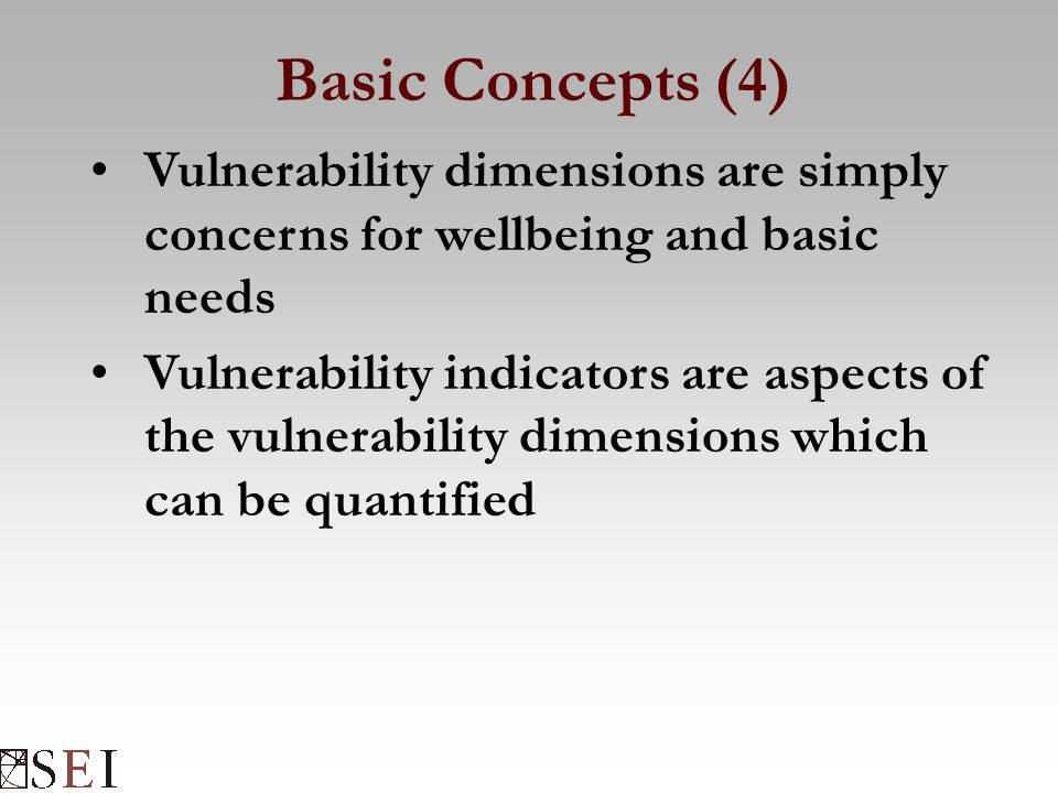 Basic Concepts (4) Vulnerability dimensions are simply concerns for wellbeing and basic needs Vulnerability indicators are aspects of the vulnerability dimensions which can be quantified