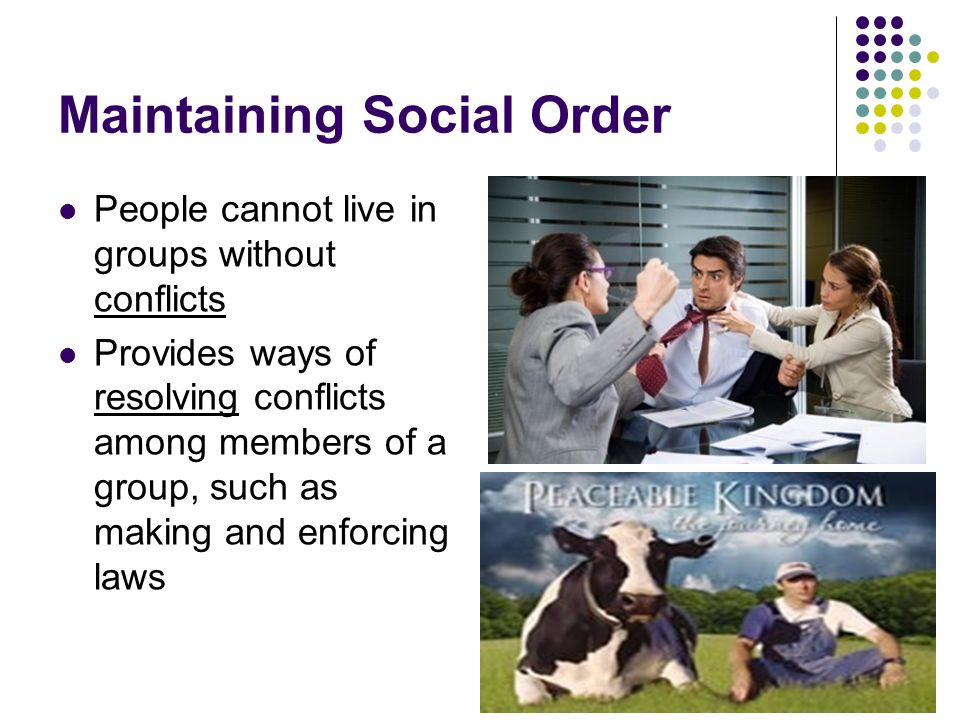 Maintaining Social Order People cannot live in groups without conflicts Provides ways of resolving conflicts among members of a group, such as making and enforcing laws