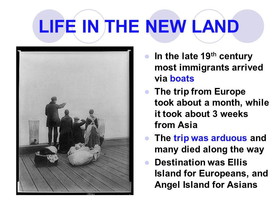 LIFE IN THE NEW LAND ●In the late 19 th century most immigrants arrived via boats ●The trip from Europe took about a month, while it took about 3 weeks from Asia ●The trip was arduous and many died along the way ●Destination was Ellis Island for Europeans, and Angel Island for Asians