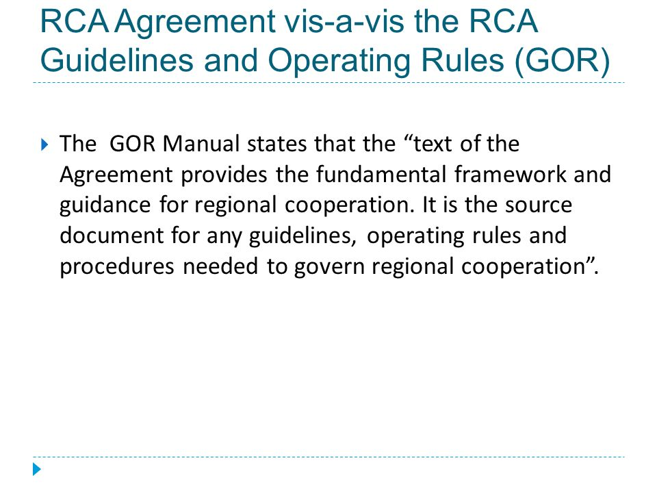 Review Of The Rca Agreement 2013 Rcaro Workshop On Strengthening The