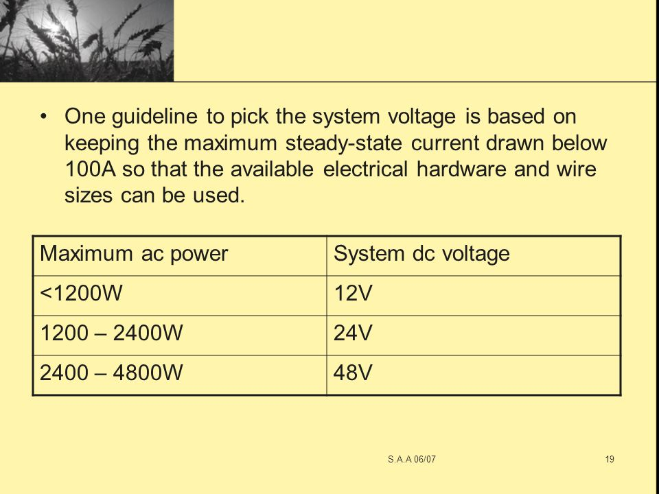 Saa 06071 lecture 4 photovoltaic system saa 06072 voltage is based on keeping the maximum steady state current drawn below 100a so that the available electrical hardware and wire sizes can be used greentooth