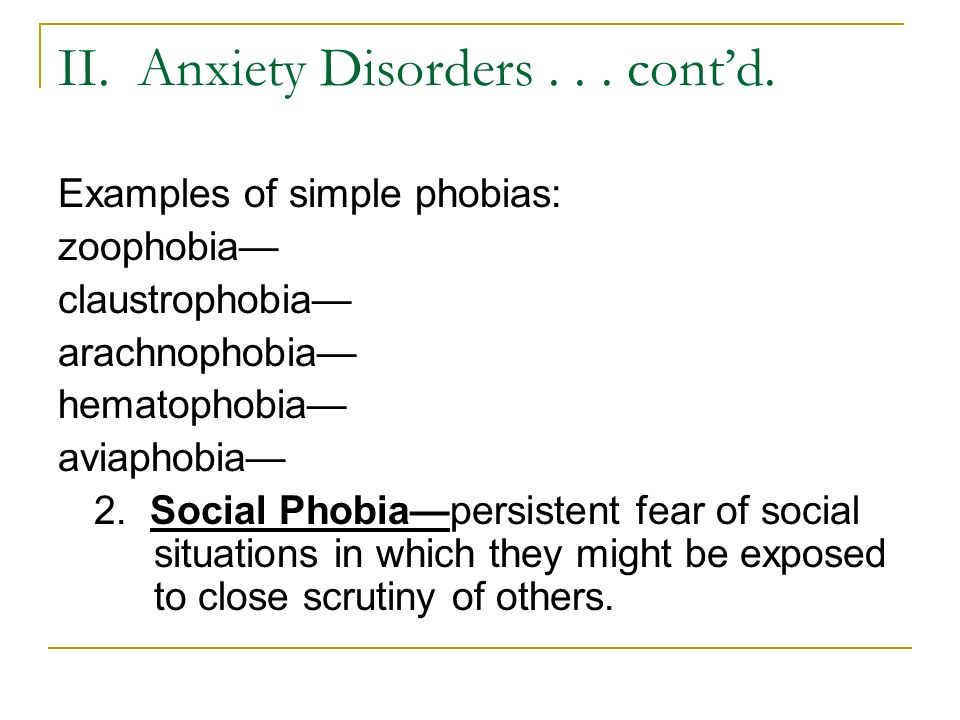 II. Anxiety Disorders... cont'd.