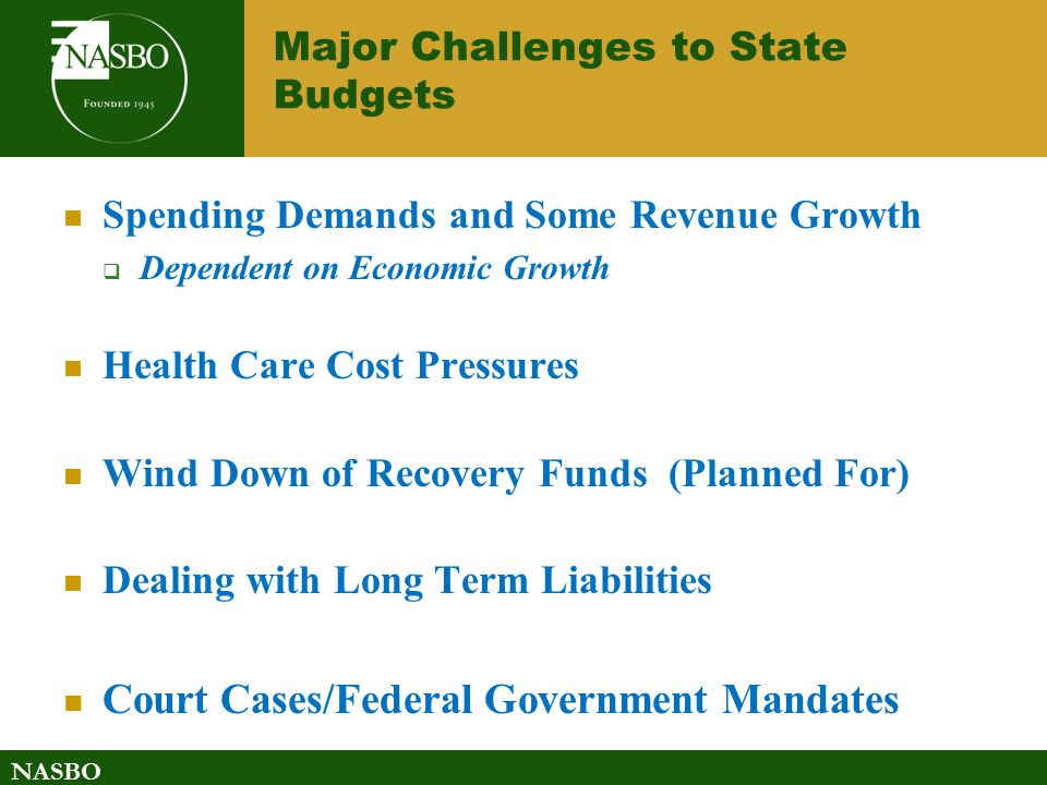 NASBO Major Challenges to State Budgets Spending Demands and Some Revenue Growth  Dependent on Economic Growth Health Care Cost Pressures Wind Down of Recovery Funds (Planned For) Dealing with Long Term Liabilities Court Cases/Federal Government Mandates