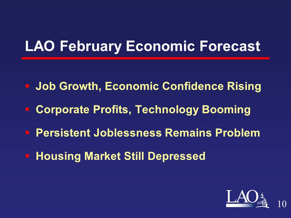 LAO LAO February Economic Forecast  Job Growth, Economic Confidence Rising  Corporate Profits, Technology Booming  Persistent Joblessness Remains Problem  Housing Market Still Depressed 10