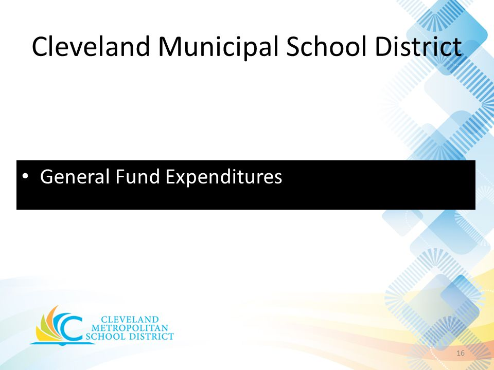 Cleveland Municipal School District 16 General Fund Expenditures