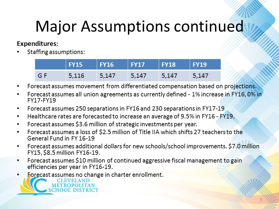 Major Assumptions continued 5 Expenditures : Staffing assumptions: Forecast assumes movement from differentiated compensation based on projections.