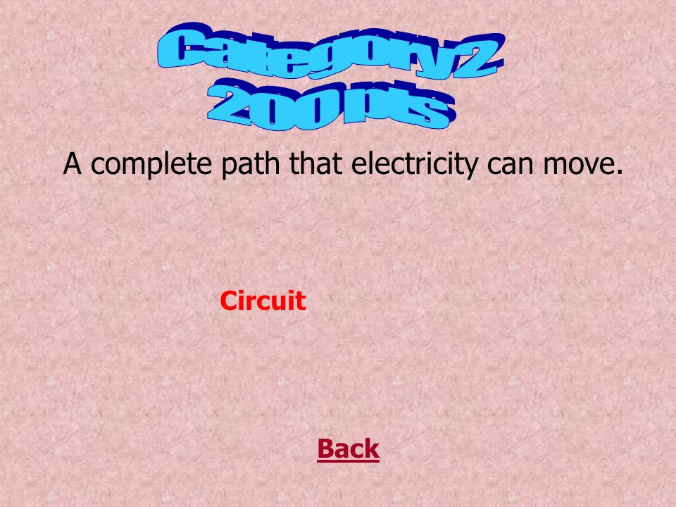 A circuit in which each bulb is connected to the cell separately Back Parallel Circuit