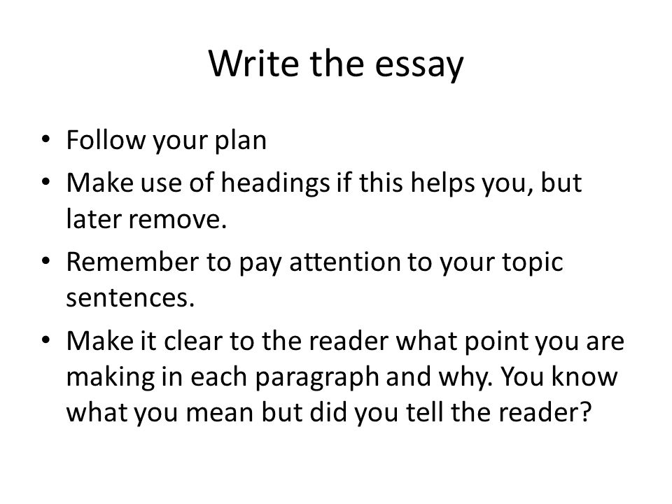 Write the essay Follow your plan Make use of headings if this helps you, but later remove.