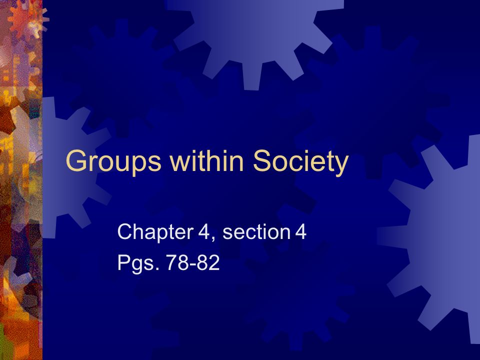 Groups within Society Chapter 4, section 4 Pgs