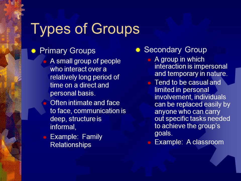 Types of Groups  Primary Groups  A small group of people who interact over a relatively long period of time on a direct and personal basis.