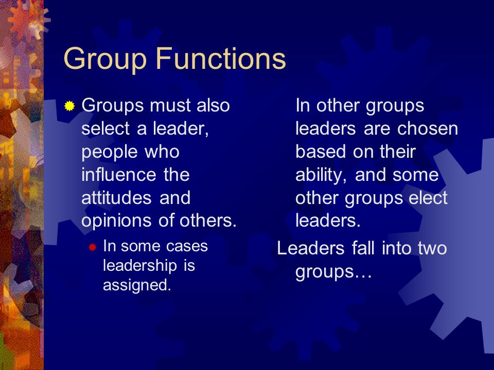 Group Functions  Groups must also select a leader, people who influence the attitudes and opinions of others.
