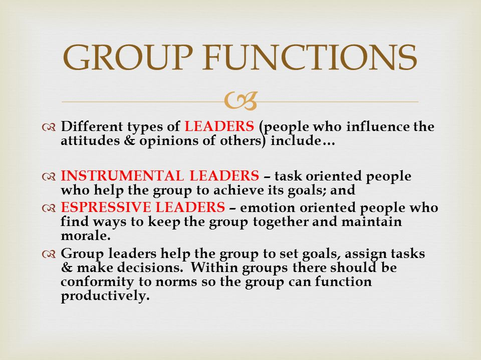   Different types of LEADERS (people who influence the attitudes & opinions of others) include…  INSTRUMENTAL LEADERS – task oriented people who help the group to achieve its goals; and  ESPRESSIVE LEADERS – emotion oriented people who find ways to keep the group together and maintain morale.