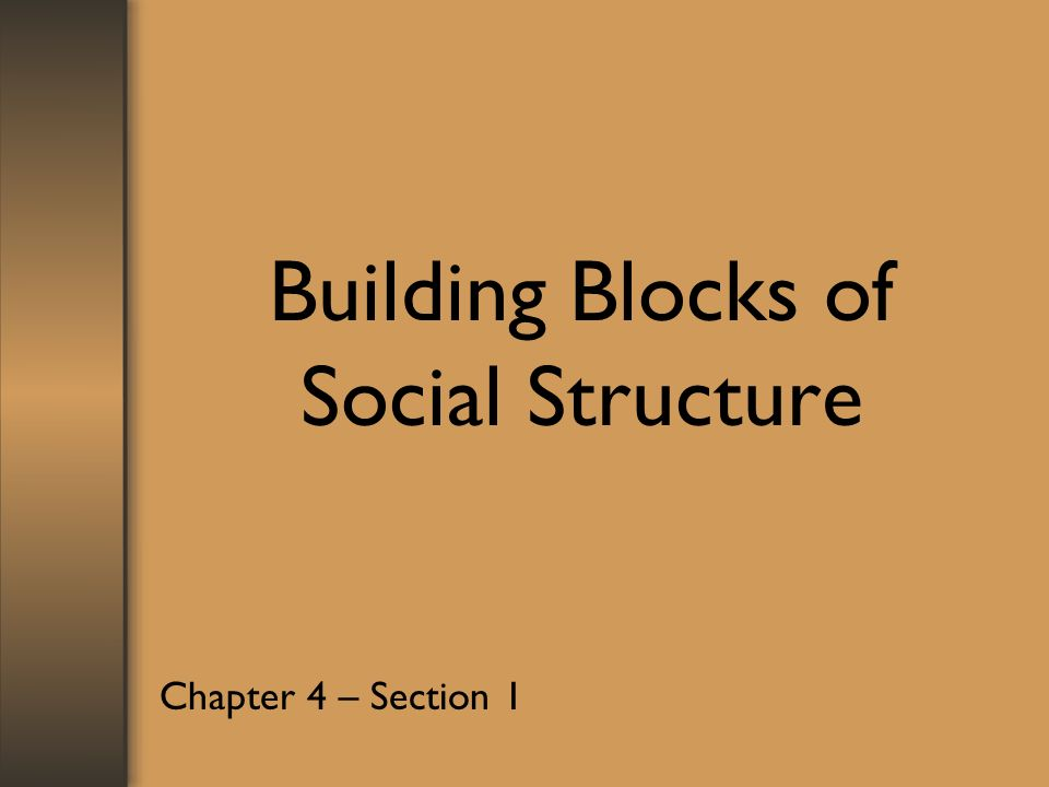 Building Blocks of Social Structure Chapter 4 – Section 1