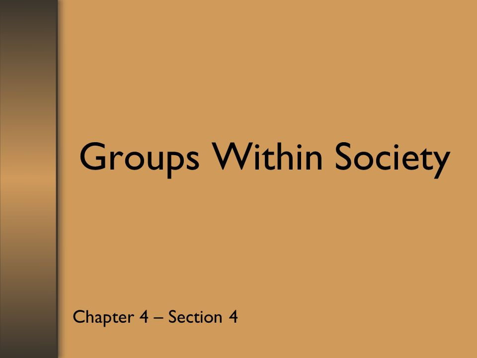 Groups Within Society Chapter 4 – Section 4