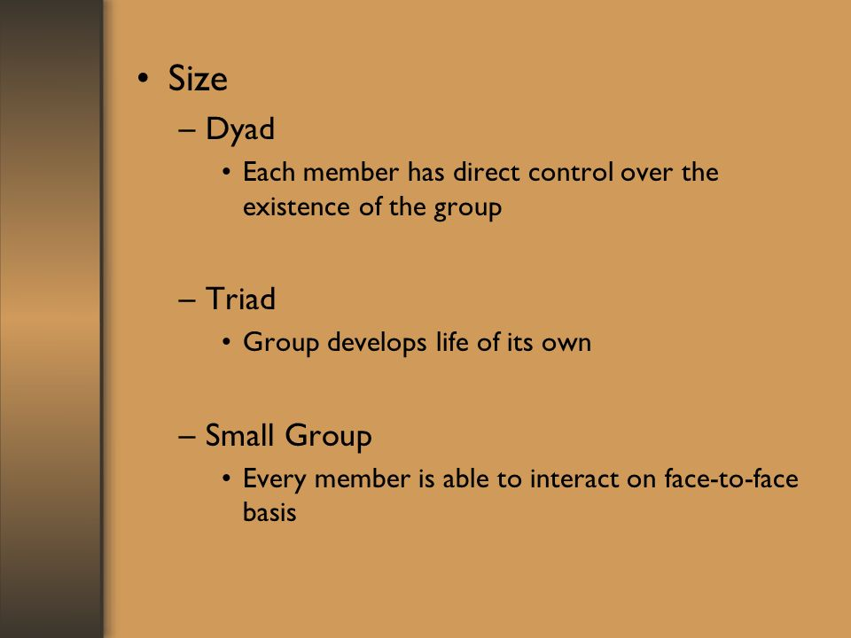 Size –Dyad Each member has direct control over the existence of the group –Triad Group develops life of its own –Small Group Every member is able to interact on face-to-face basis