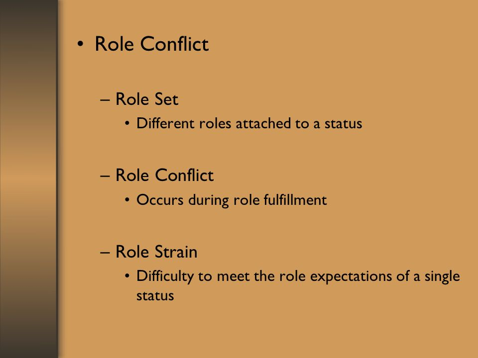 Role Conflict –Role Set Different roles attached to a status –Role Conflict Occurs during role fulfillment –Role Strain Difficulty to meet the role expectations of a single status