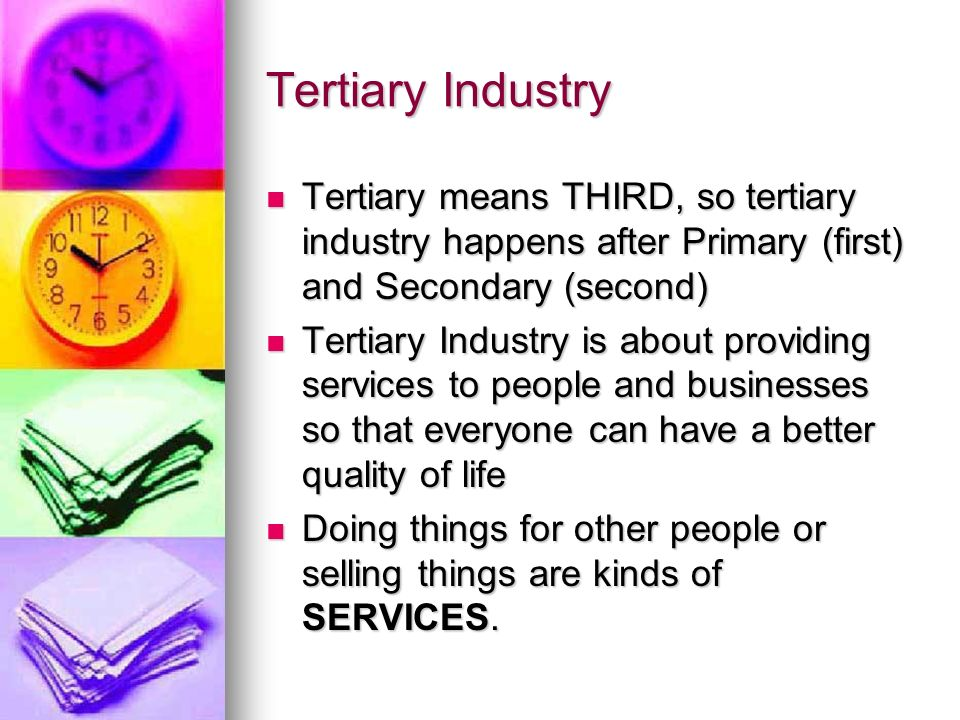 Tertiary Industry Tertiary means THIRD, so tertiary industry happens after Primary (first) and Secondary (second) Tertiary means THIRD, so tertiary industry happens after Primary (first) and Secondary (second) Tertiary Industry is about providing services to people and businesses so that everyone can have a better quality of life Tertiary Industry is about providing services to people and businesses so that everyone can have a better quality of life Doing things for other people or selling things are kinds of SERVICES.