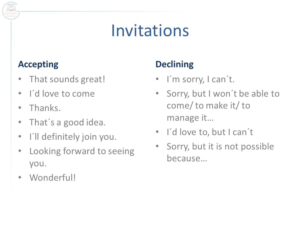 Making Invitations Making Accepting Or Declining An Invitation