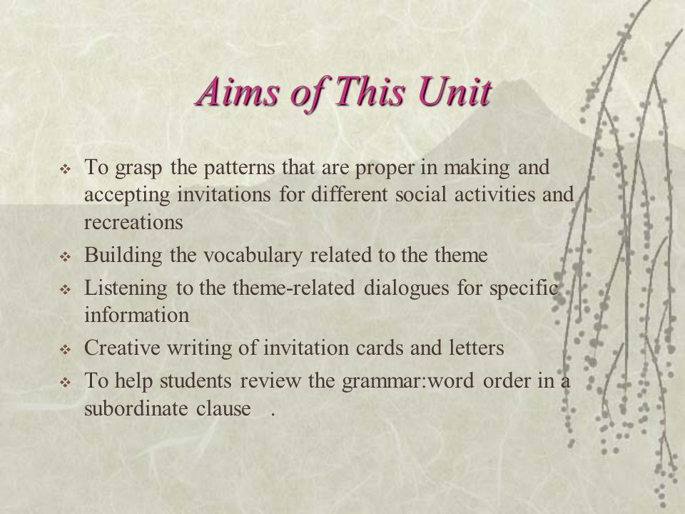 Unit one invitations aims of this unit to grasp the patterns 2 aims stopboris Images