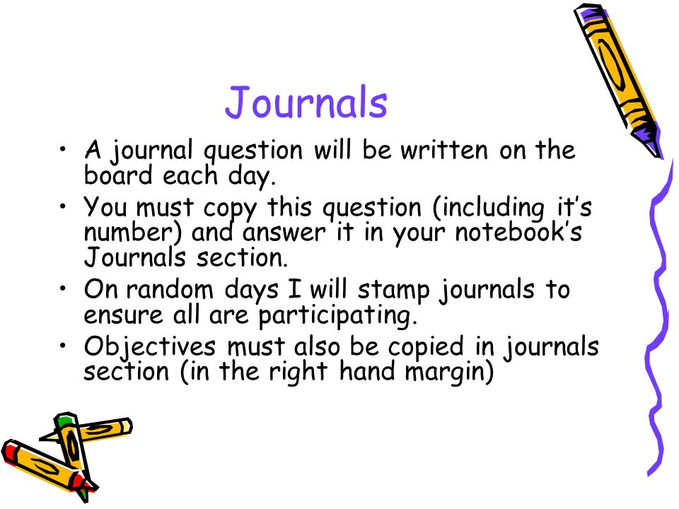 Journals A journal question will be written on the board each day.