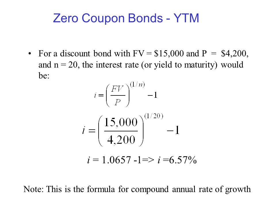 how to calculate zero coupon bond yield to maturity