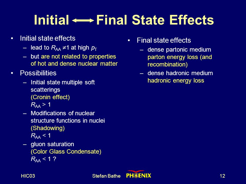 HIC03Stefan Bathe12 Initial Final State Effects Initial state effects –lead to R AA  1 at high p T –but are not related to properties of hot and dense nuclear matter Possibilities –Initial state multiple soft scatterings (Cronin effect) R AA > 1 –Modifications of nuclear structure functions in nuclei (Shadowing) R AA < 1 –gluon saturation (Color Glass Condensate) R AA < 1 .