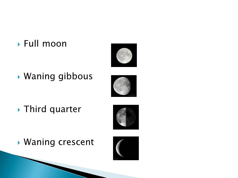  Full moon  Waning gibbous  Third quarter  Waning crescent